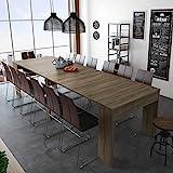 SelectionHome - Mesa de Comedor Consola Extensible hasta 301 cm, Acabado Roble Oscuro,...